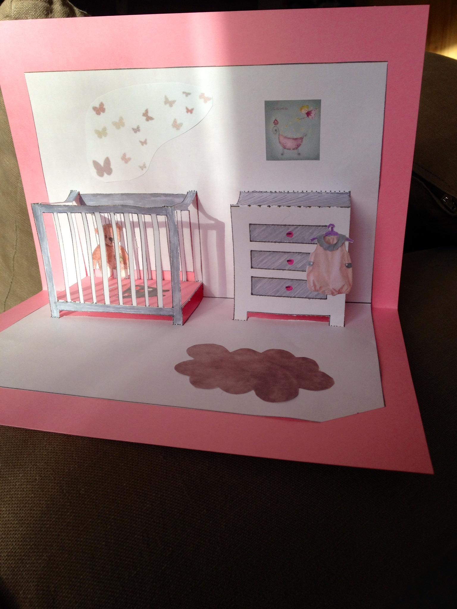 Simple Chambre De Naissance : Ma ème carte pop up chambre de bébé la ptite sorcière